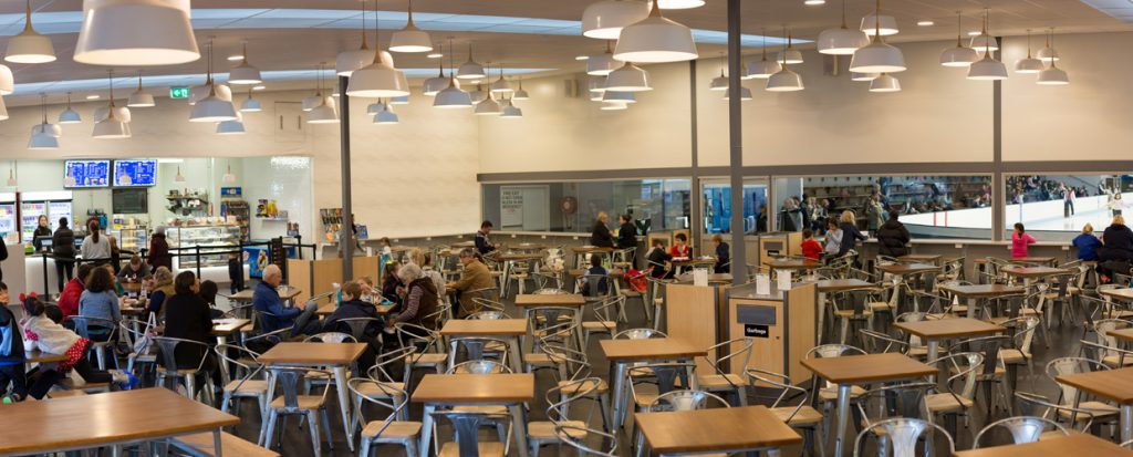 The spacious Frostbite Cafe at Cockburn Ice Arena, which overlooks the ice rink