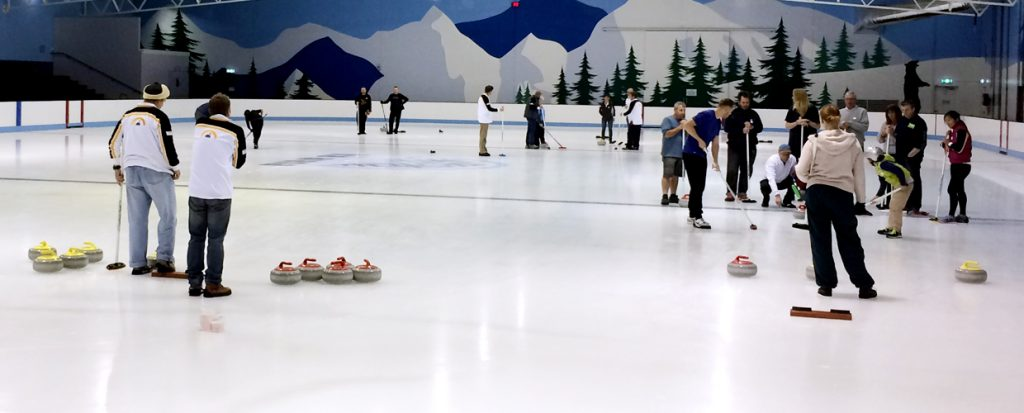 Learn to curl workshop at Cockburn Ice Arena. A new group learning the sport of curling.