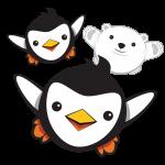 Penguin and polar bear mascots