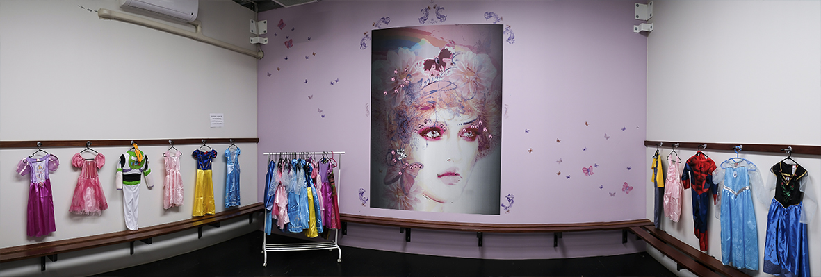 Princess themed birthday party room for girls