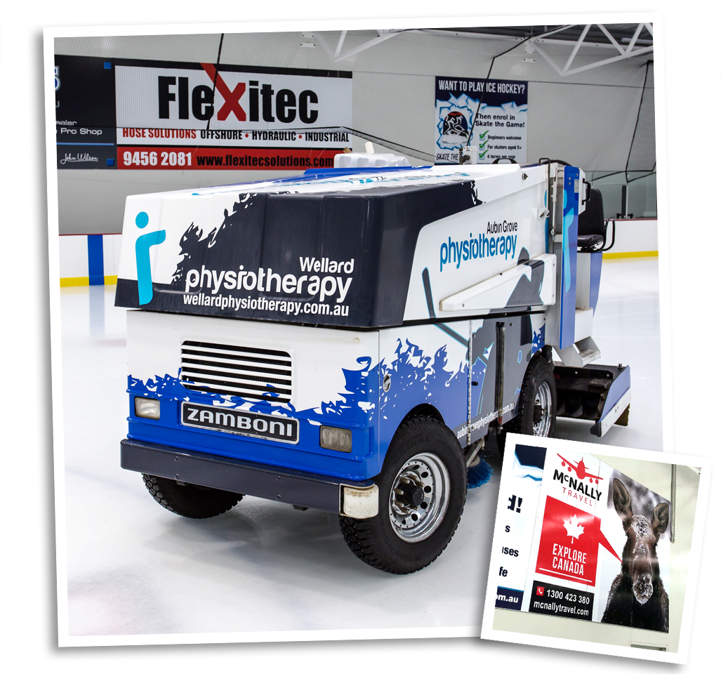 A full Zamboni vinyl wrap and large format wall signage. 2 fantastic sponsorship options!