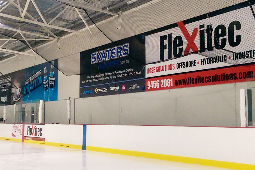 Wall signage as a sponsorship opportunity at Cockburn Ice Arena