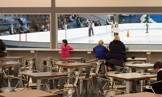 view of the skating rink from the frostbite cafe