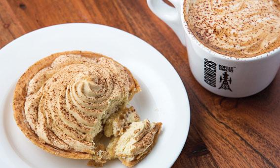 Barista made coffee and cake