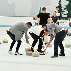 practising curling on ice with Curling WA team