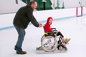 Our custom made Ice Glider for All Abilities sessions allows individuals in chairs to experience the gliding sensation of ice skating