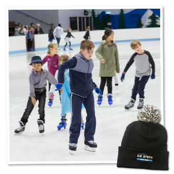 Kids doing ice skating lessons