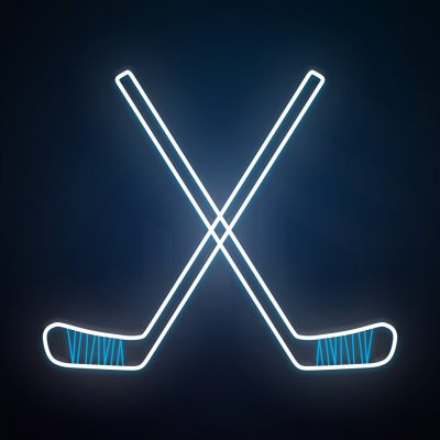 Ice hockey icon glowing hockey stick outline