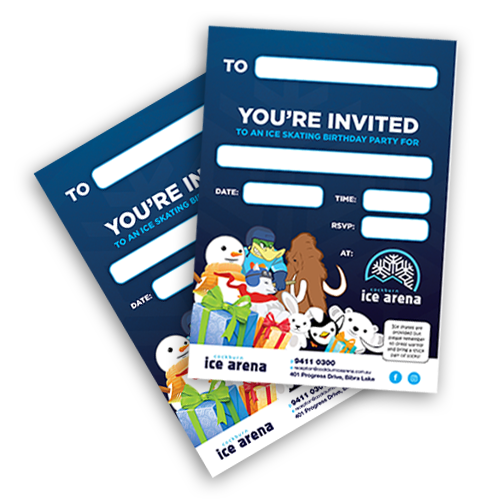 birthday party invites for Cockburn Ice Arena