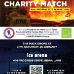 Bushfire relief charity ice hockey match poster