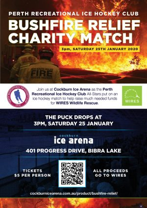 Bushfire relief charity ice hockey match poster