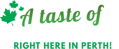 "A typographic heading that reads ""A taste of North America right here in Perth!"""