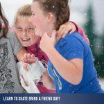 2 girls having fun at a 'bring a friend ice skating' day