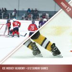 Product image for Ice Hockey Academy andSunday Games. Group of under 12 aged kids playing ice hockey