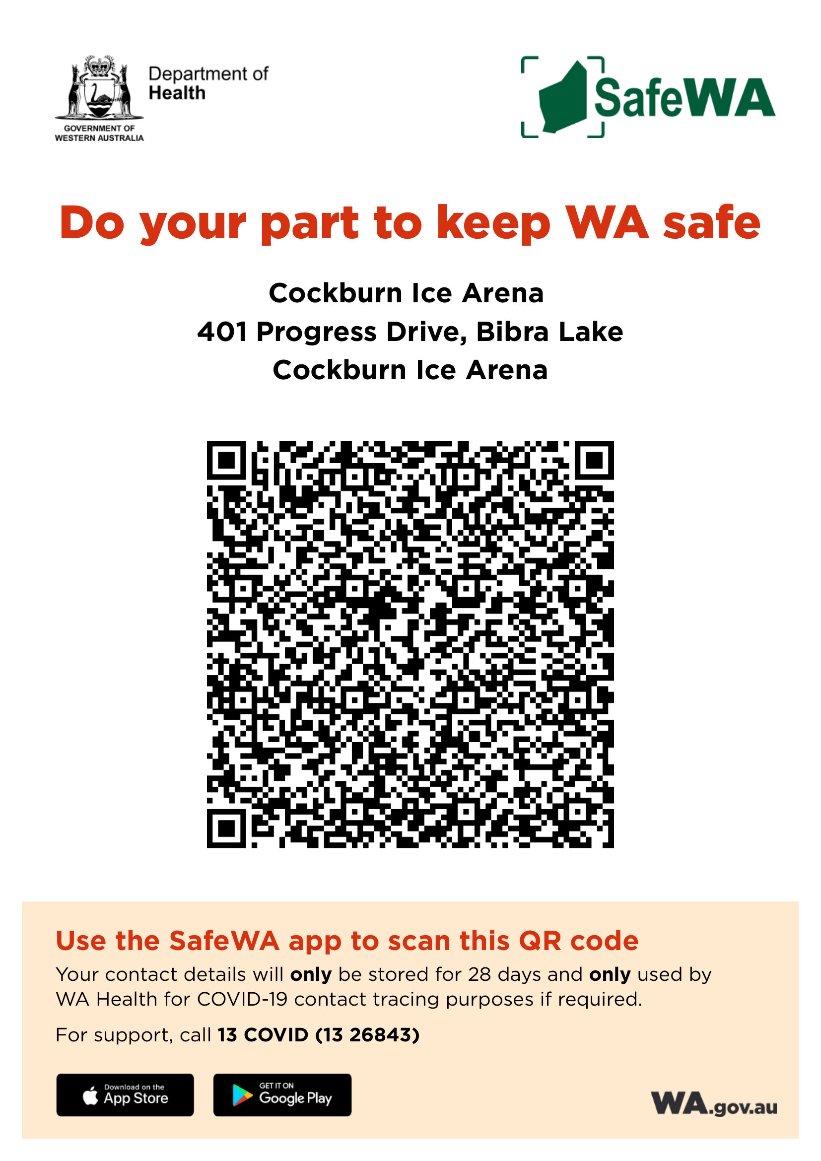 SAFEWA covid QR scanning page