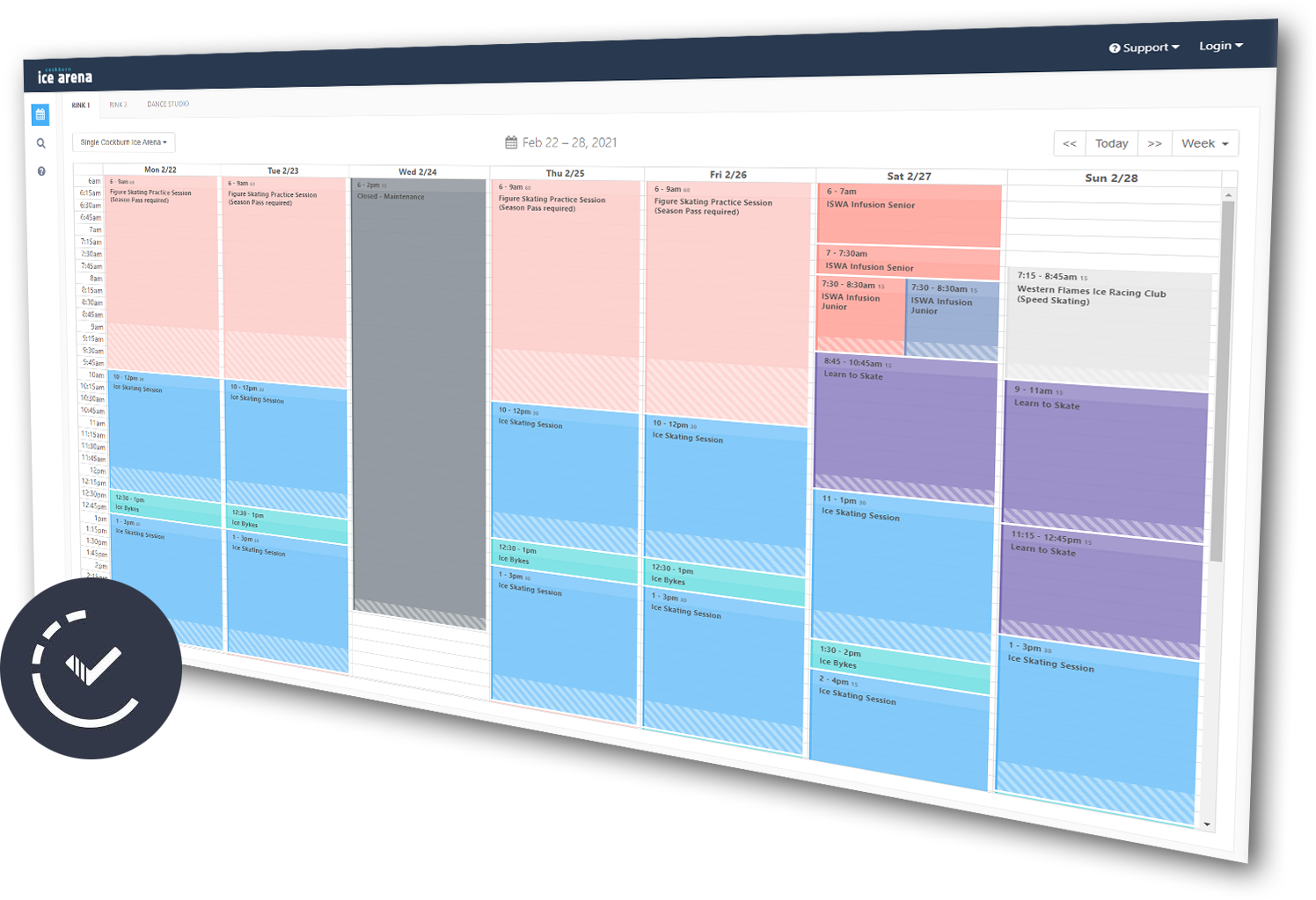 rec times calendar screenshot