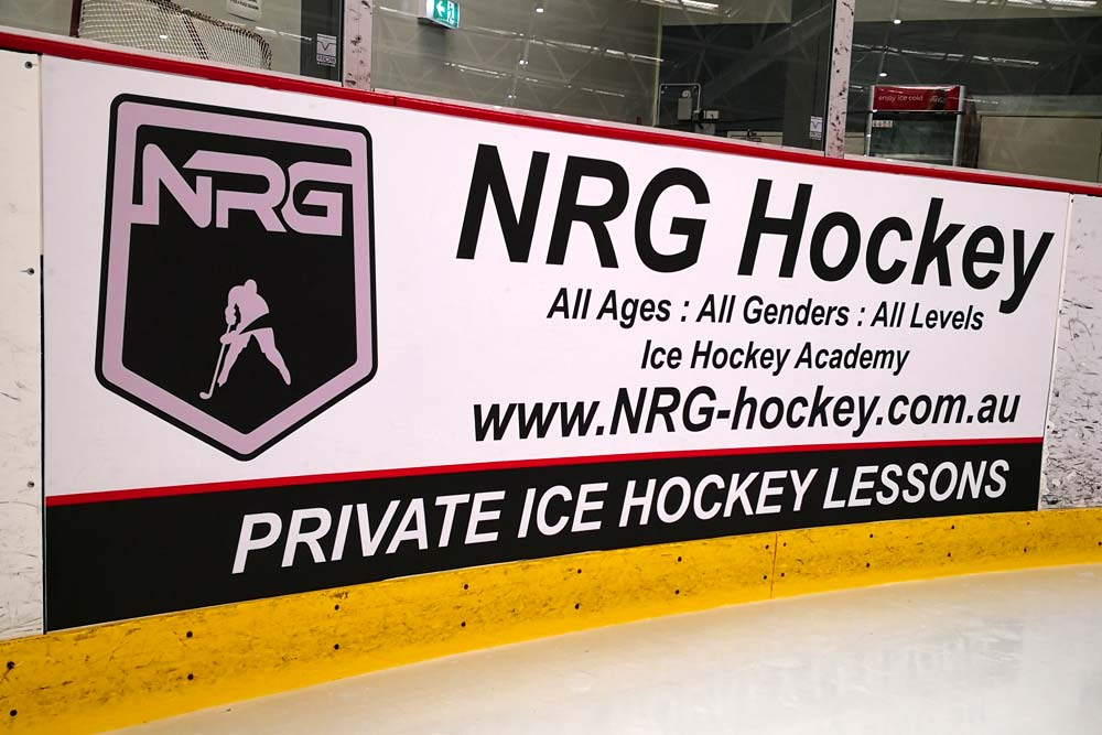 Printed dasher board advertising at Cockburn Ice arena