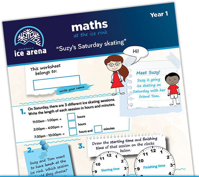 Year 1 maths worksheet for an educational school excursion at Cockburn Ice Arena