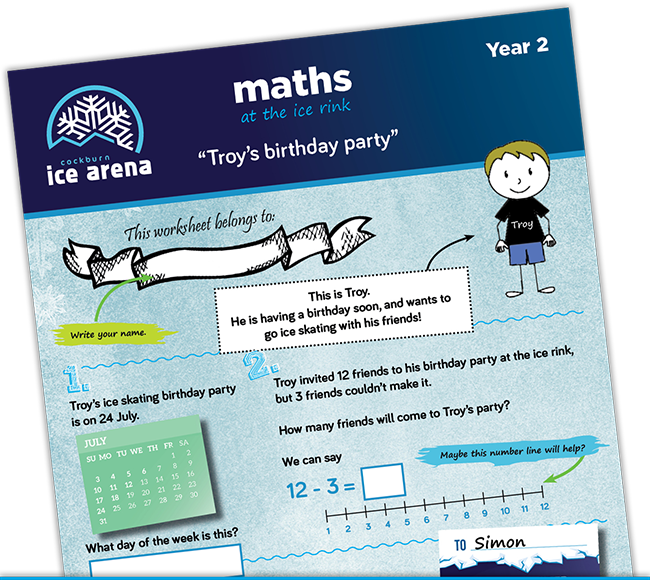 Year 2 maths worksheet for an educational school excursion at Cockburn Ice Arena