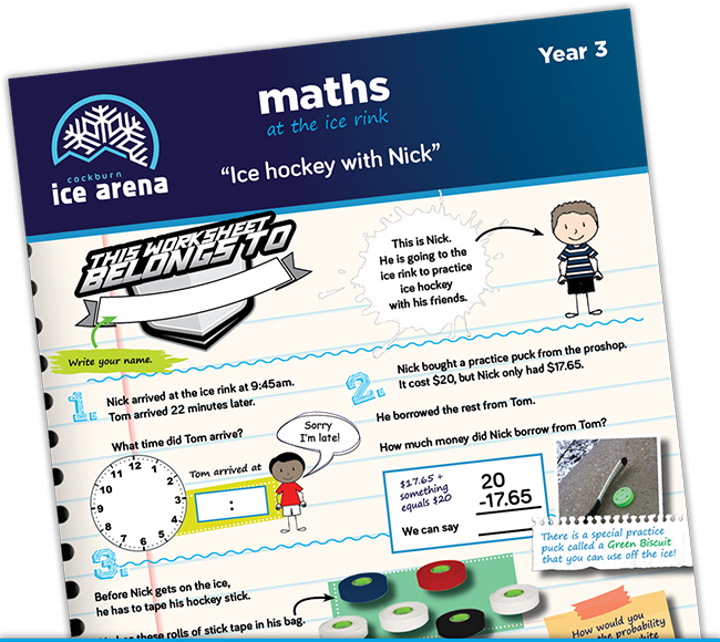 Year 3 maths worksheet for an educational school excursion at Cockburn Ice Arena