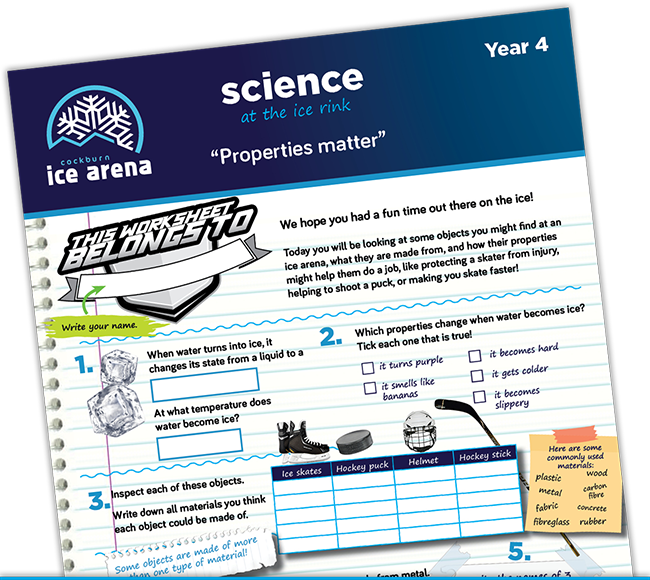 Year 4 science worksheet for an educational school excursion at Cockburn Ice Arena