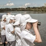 Students birdwatching during an environmental education excursion at the Wetlands Centre Cockburn